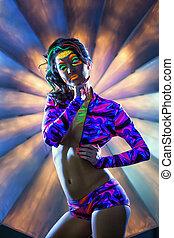 Image of sexy heavily made woman posing at camera