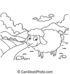 Sheep Colouring Pages vector - image of Sheep Colouring...