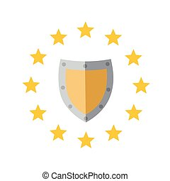 Image of shield in the circle of stars. EU regulations. Protecting your personal data. GDPR, RGPD, DSGVO. General Data Protection Regulation. Vector concept illustration. Flat style. Isolated.