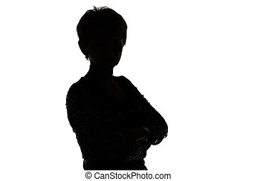Image of silhouette adult woman on white background