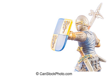 Small medieval soldier on white background