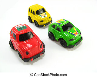image of some rally toycars on a white background