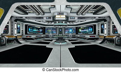 image of space ship control room.