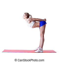 Image of sporty blonde posing on mat