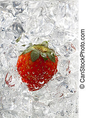image of strawberry on ice cubes