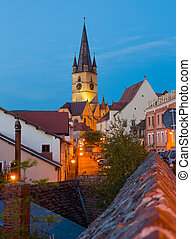 Image of streets of Sibiu with view of Cathedral