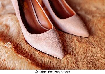 Image of stylish elegant classic beige shoes