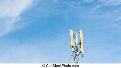 image of Tele-radio tower with blue sky