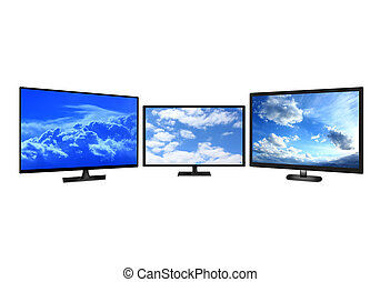 television sets isolated on white background