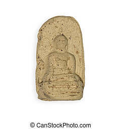 thai amulet isolated on white - image of thai amulet...