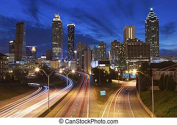 Image of the Atlanta skyline during twilight blue hour.