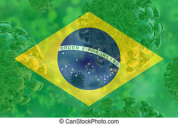 Image of the covid 19 coronavirus, with Brazil flag superimposed.