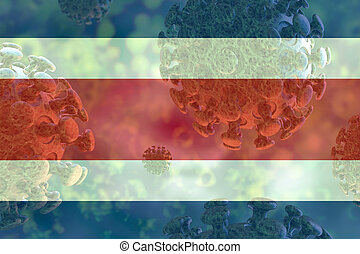 Image of the covid 19 coronavirus, with Costa Rica flag superimposed.