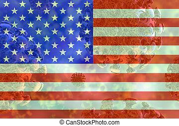 Image of the covid 19 coronavirus, with USA flag superimposed.