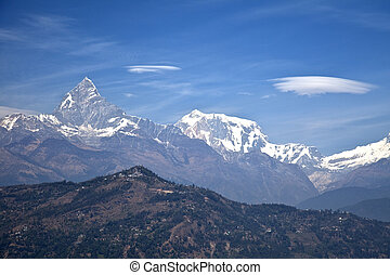 Dhaulagiri-Annapurna-Manaslu Himalayan Mountain Range, Nepal...