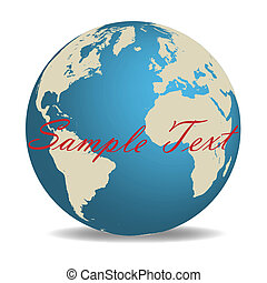 Image of the globe with editable text isolated on a white background.