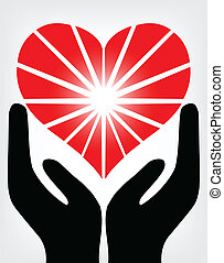 Image of the hands holding red heart. Vector
