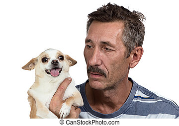 Image of the old man holding dog