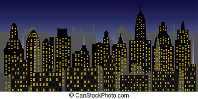 metropolis of recent time - vector - Image of the panorama ...