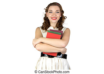 Image of the pinup woman with books
