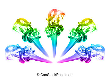 smoke in the form of rainbow flower
