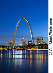 Image of the St. Louis downtown with Gateway Arch at twilight.