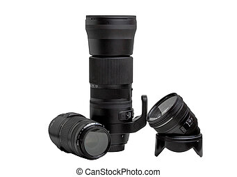 image of three auto focus lenses for the camera on a white background