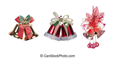 three Christmas bells with a red ribbon