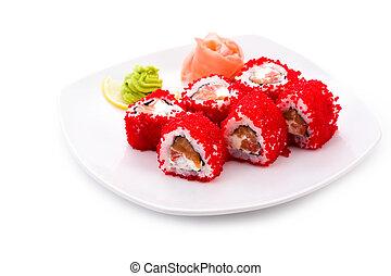 Tokyo maki - Image of Tokyo maki sushi rolls in red caviar ...