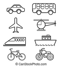 Transportation icon set vector