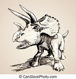 Image of triceratops in freehand style