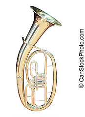 image of trumpet under the white background