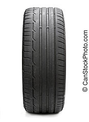 Image of used tyre isolated on white
