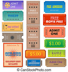 Image of various admission and cinema tickets.
