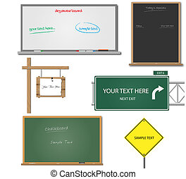 Image of various blank signs and boards with editable text.