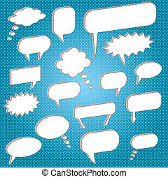 Image of various chat bubbles on a colorful blue background.