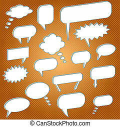Image of various chat bubbles on an orange background.