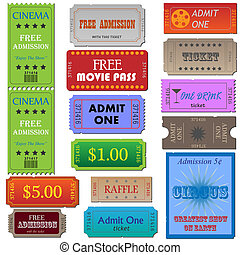 Image of various cinema and admission tickets.