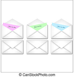 Image of various colorful envelopes with editable text.