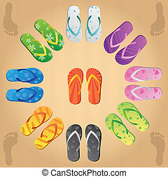 Image of various colorful flip flops on a sandy background.
