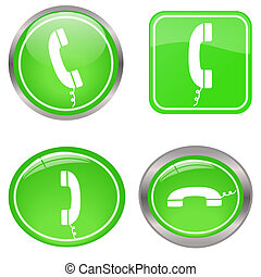 Image of various colorful green phone buttons isolated on a white background.