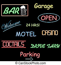 Image of various colorful neon signs.