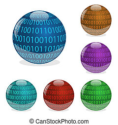 Image of various colorful orbs with binary digits isolated on a white background.
