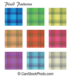 Image of various colorful plaid patterns isolated on a white background.
