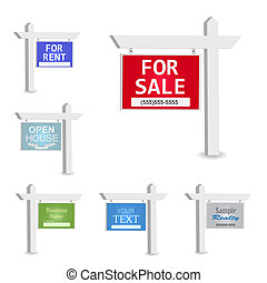 Image of various colorful signs with editable text isolated on a white background.