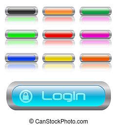 Image of various colorful web login bars.