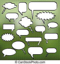 Image of various comic chat bubbles on a colorful green background.