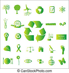 Image of various eco-friendly green icons isolated on a white background.