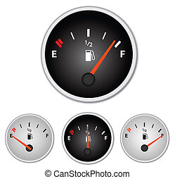 Image of various gas gages isolated on a white background.
