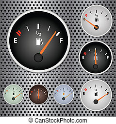 Image of various gas gauges on a metallic background.